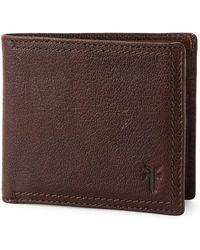 Frye - Dark Brown Owen Leather Billfold Wallet - Lyst
