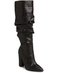 Cape Robbin - Black Glitter Slouch Block Heel Boots - Lyst