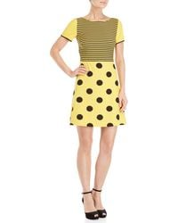 Boutique Moschino - Yellow & Black Printed Short Sleeve A-line Dress - Lyst