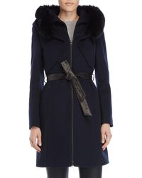 SOIA & KYO - Real Fur Trim Belted Coat - Lyst