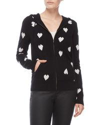 Ply Cashmere - Heart Print Zip Cashmere Hoodie - Lyst