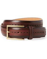 Cole Haan - Hamilton Grand Brogued Leather Belt - Lyst