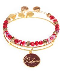 ALEX AND ANI - 2-piece Gold-tone & Red Believe Bangle Set - Lyst