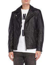 Scotch & Soda - Pebbled Leather Moto Jacket - Lyst