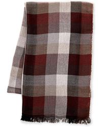 English Laundry - Red Big Check Lightweight Scarf - Lyst