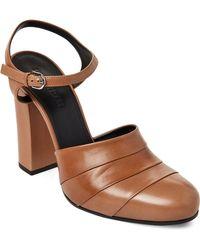Jil Sander - Beige Pleated Leather Block Heel Pumps - Lyst
