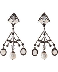 Bavna - Sterling Silver Moonstone & Pearl Drop Earrings - Lyst