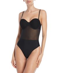 feb366e89e9 Wolf & Whistle Tummy Control Bustier Swimsuit B-g Cup - Black in ...