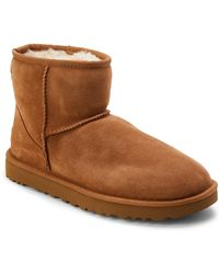 UGG - Chestnut Real Fur Classic Mini Boots - Lyst