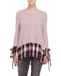 She + Sky - Mixed Media Plaid Sweater - Lyst