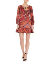 GAUDI - Printed Lace-up Blouson Sleeve Dress - Lyst