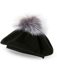 64f984d15f6 Lyst - Sofia Cashmere Cashmere Fair Isle Knit Hat With Fur Pom in Gray