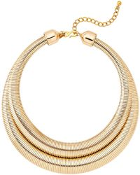 Kenneth Jay Lane - Two-row Gold-tone Snake Chain Collar Necklace - Lyst