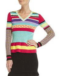 Boutique Moschino - Geo Print Lurex V-neck Sweater - Lyst