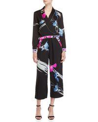 Leonard - Black Printed Surplice Jumpsuit - Lyst