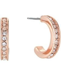 Lauren by Ralph Lauren - Rose Gold-tone Pave Huggie Hoop Earrings - Lyst