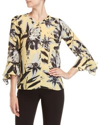 Sioni - Printed Keyhole Bell Sleeve Top - Lyst