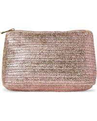 Imoshion - Pink Metallic Straw Cosmetic Bag - Lyst