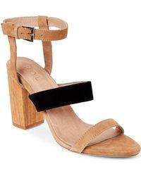 RAYE - Tan & Black Lana Block Heel Sandals - Lyst