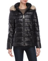 DKNY - Glossy Faux Fur-trimmed Jacket - Lyst