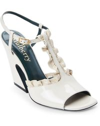 Mulberry - Ivory Ruffled Leather Flare Heel Sandals - Lyst