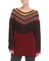 I'm Isola Marras - Lurex Stripe V-neck Fringe Sweater - Lyst