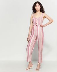 Romeo and Juliet Couture - Striped Tie-back Jumpsuit - Lyst