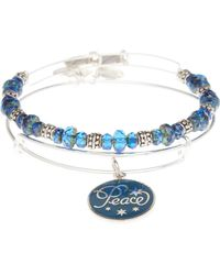 ALEX AND ANI - Two-Piece Silver-Tone & Blue Peace Bangle Set - Lyst