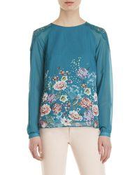 Yumi' - Floral Lace Shoulder Blouse - Lyst
