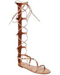 Valentino - Nude Rockstud Tall Leather Gladiator Sandals - Lyst