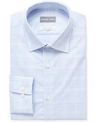 Michael Kors - Light Blue Plaid Stretch Regular Fit Dress Shirt - Lyst