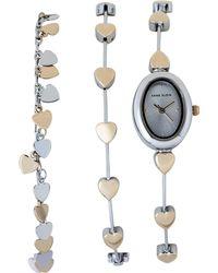 Anne Klein - Ak3087 Silver-tone & Gold-tone Watch & Heart Bracelet Set - Lyst
