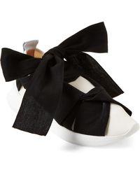 Gabriella White & Black Tie Low-top Scuba Sneakers