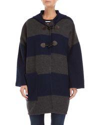 Le Mont St Michel - Navy & Grey Striped Wool Cape Jacket - Lyst