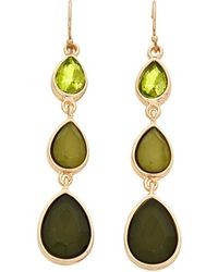 Catherine Stein - Gold-Tone & Olive Three-Drop Earrings - Lyst