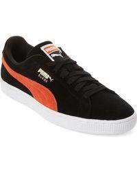 PUMA - Black & Firecracker Classic Suede Low-top Sneakers - Lyst