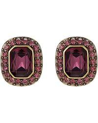 Heidi Daus - Gold-tone Crystal Cushion-cut Button Earrings - Lyst