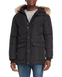 Mackage - Black Real Fur Hooded Trim Down Jacket - Lyst