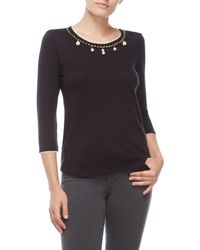 Status By Chenault - Petite Faux Pearl Neck Sweater - Lyst