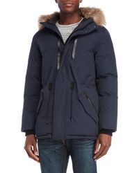 Mackage - Navy Real Fur Trim Down Hooded Jacket - Lyst