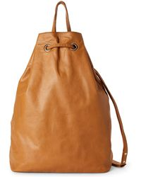 Erika Cavallini Semi Couture - Cognac Bill Pebbled Leather Drawstring Backpack - Lyst