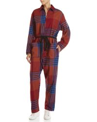AVN - Houndstooth Plaid Zip Jumpsuit - Lyst