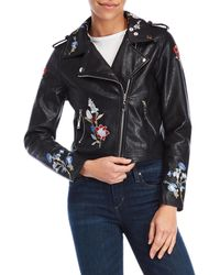 Bishop + Young - Embroidered Faux Leather Moto Jacket - Lyst