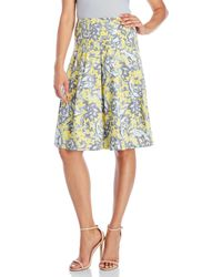 Samantha Sung - Yellow Paisley Pleated Skirt - Lyst