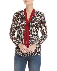GAUDI - Leopard Print Tie-neck Top - Lyst