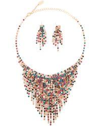 Natasha Couture - Gold-tone & Multicolor Fringe Necklace & Earrings Set - Lyst