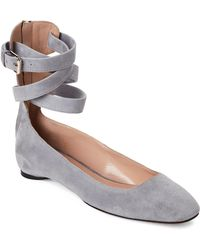 Valentino - Grey Suede Lace-up Ballet Flats - Lyst