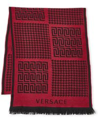 Versace - Greek Key & Houndstooth Wool Scarf - Lyst