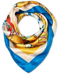 Dolce & Gabbana - Blue & Cream Silk Scarf - Lyst