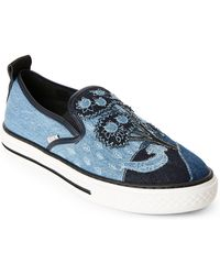 RED Valentino - Denim Patchwork Slip-on Sneakers - Lyst